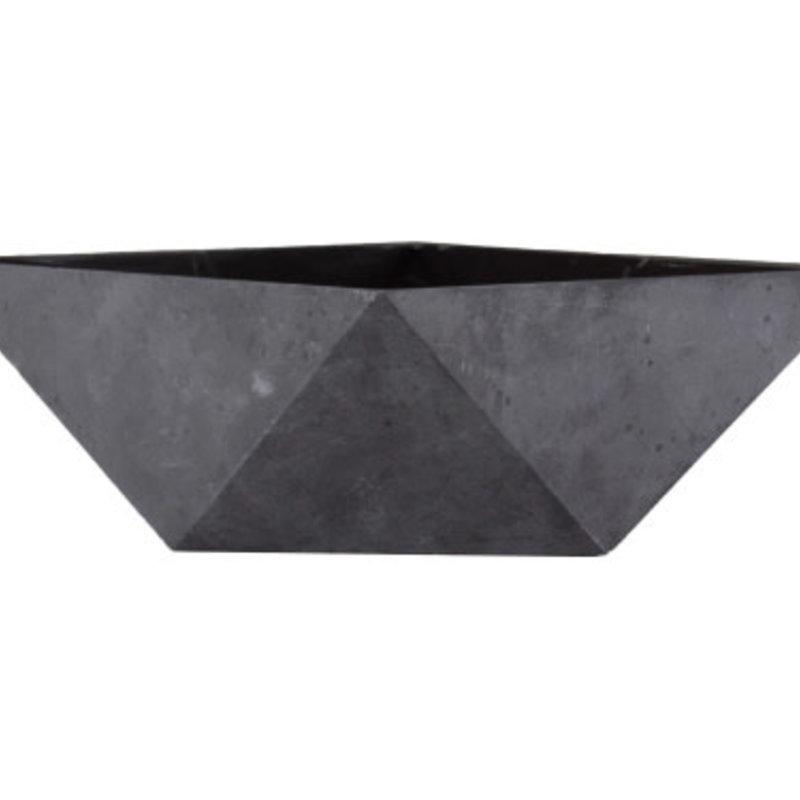 "PL Deco Faceted Bowl Gray 6"""