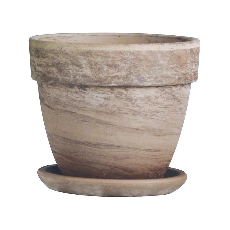 """TC Levante Pot w/ Saucer Marble 7.5"""""""
