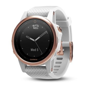 Garmin Fenix 5S Sapphire Rose Goldtone  with White Band HRM Watch