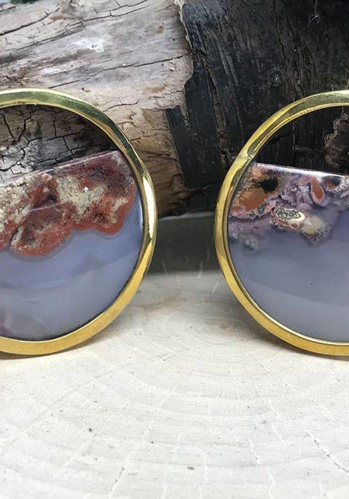Buddha Jewelry Nature Vs Nurture Muse Brass/Plume Agate small (6g)