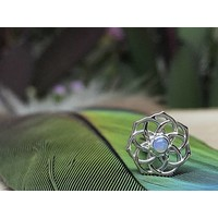 BVLA The Shandra 8.5mm 14g Threaded 14k White Gold with 2mm AAA White Opal center