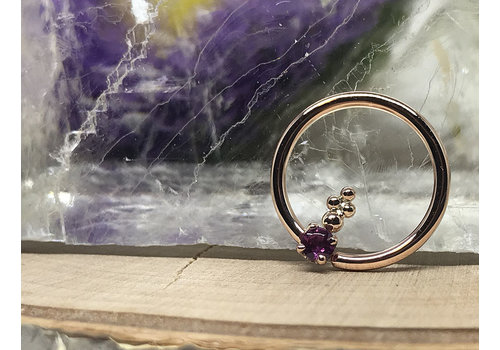 """Rose Gold with Amethyst 16g 7/16"""" Seam Ring"""