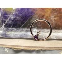 "Sleeping Goddess Living Doll Rose Gold with Amethyst 16g 7/16"" Seam Ring"