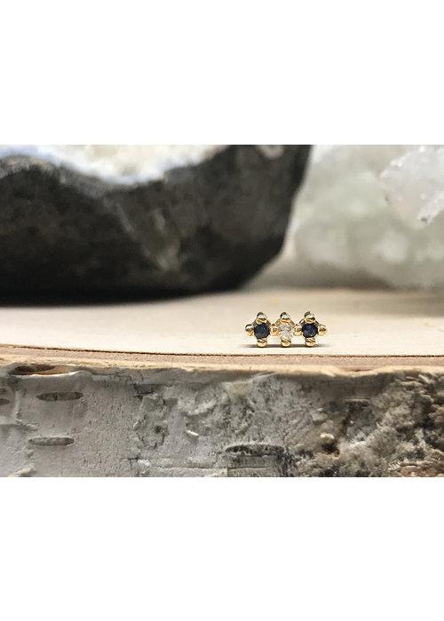 Quetzalli Jewelry Quetzalli 3 Line Black Spinel and Diamond Yellow Gold Threadless