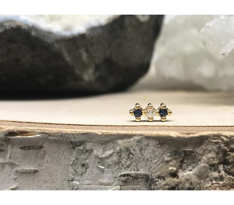 Quetzalli 3 Line Black Spinel and Diamond Yellow Gold Threadless