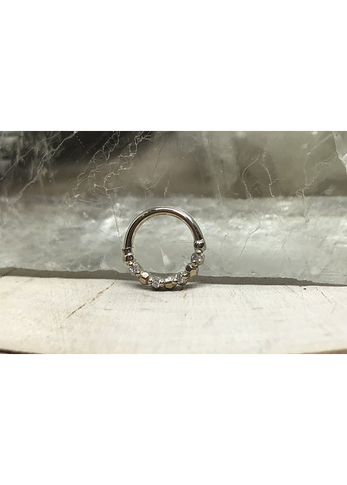 """Tawapa Tawapa Faceted 14k White Gold Faceted with x4 1mm White Diamonds 18g 1/4"""" Seam Ring"""