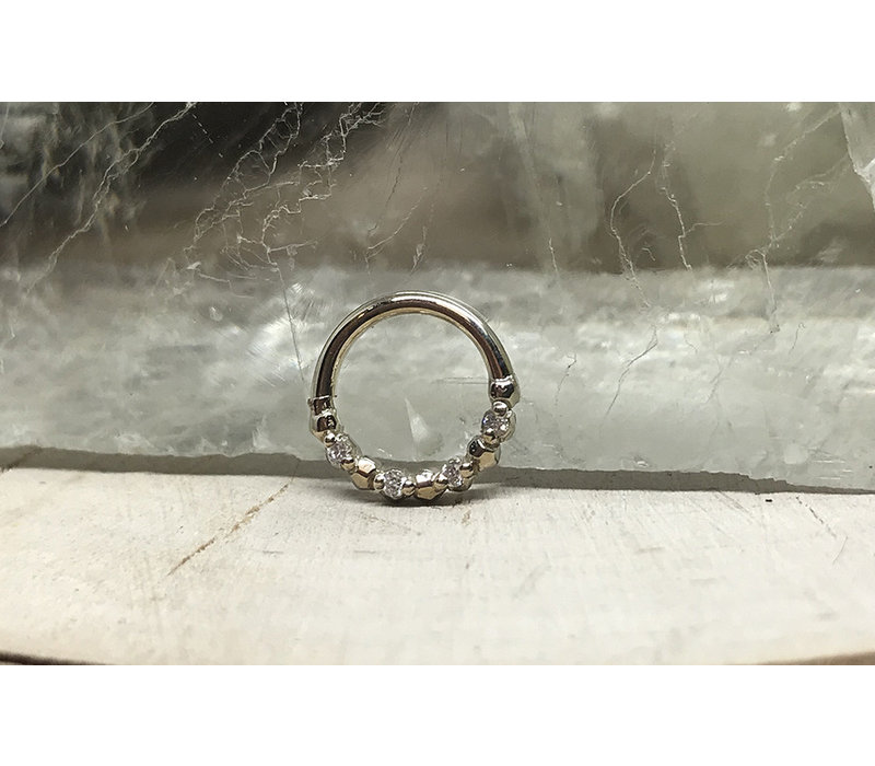 """Tawapa Faceted 14k White Gold Faceted with x4 1mm White Diamonds 18g 1/4"""" Seam Ring"""