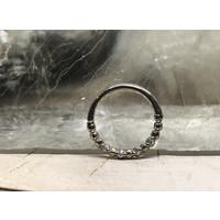 "Tawapa Faceted 14k White Gold with x4 1mm White Diamonds Seam 16g 3/8"" Seam Ring"