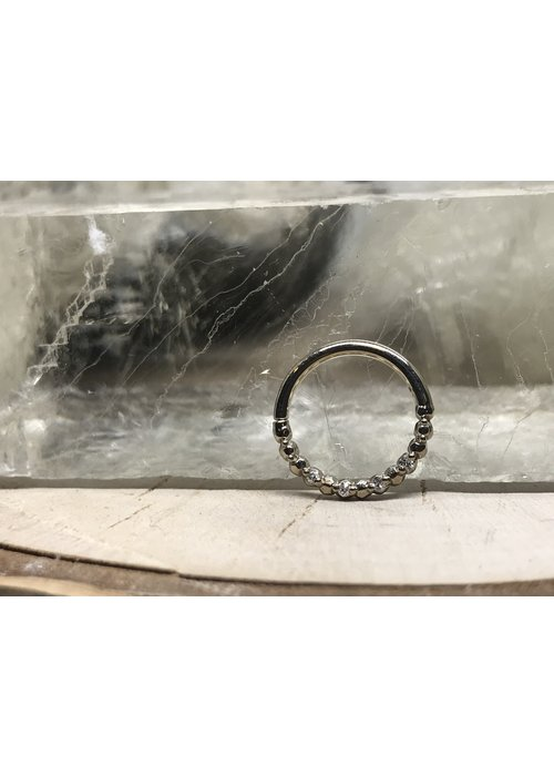 "Tawapa Tawapa 14k White Gold with x4-1mm White Diamonds 16g 5/16"" Seam Ring"