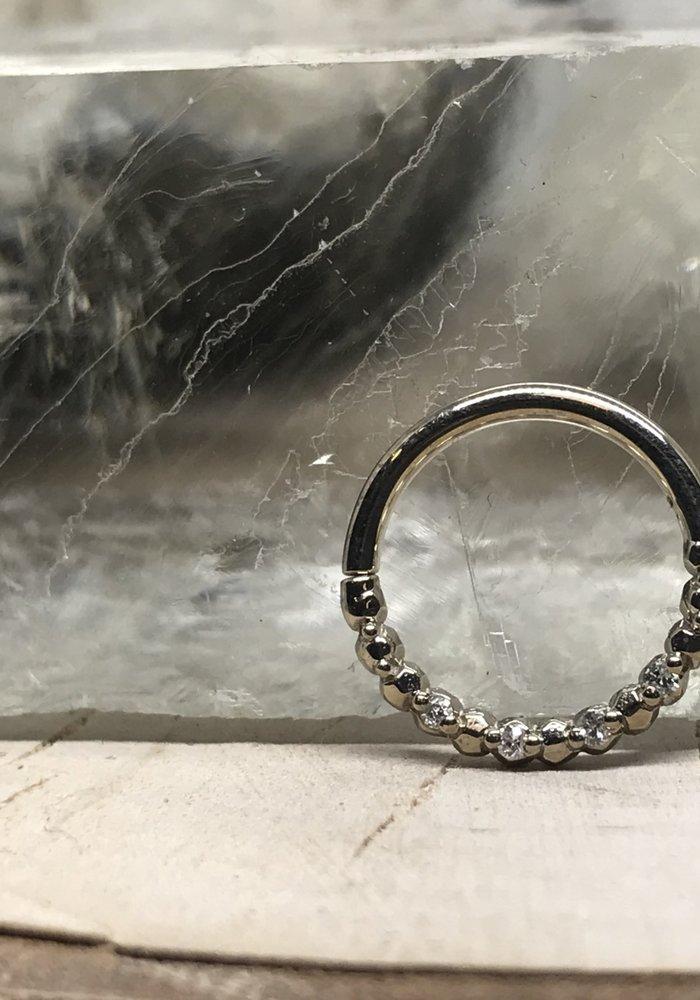 "Tawapa Faceted 14k White Gold with x4-1mm White Diamonds 16g 5/16"" Seam Ring"