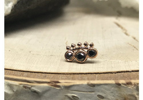 Tawapa Tawapa Tiara 14k Rose Gold with Black Diamond Threadless