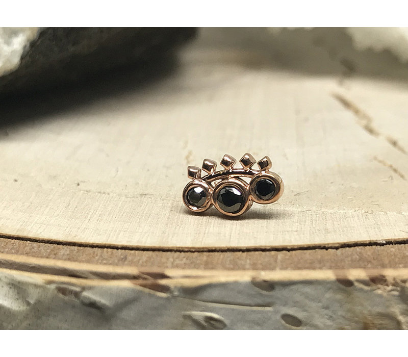 Tawapa Tiara 14k Rose Gold with Black Diamond Threadless