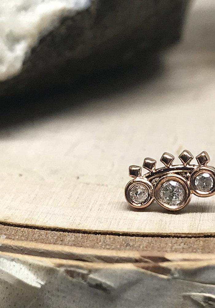 Tawapa Tiara 14k Rose Gold with White Diamond Threadless
