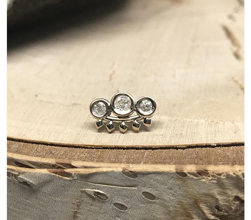 Tawapa Tiara 14k White Gold with White Diamond Threadless
