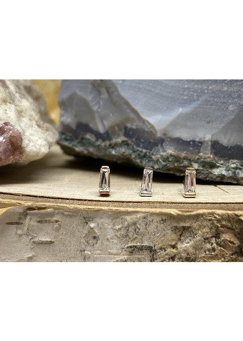 Buddha Jewelry Organics Buddha Jewelry  Tapered Baguette Yellow Gold with White CZ Threadless