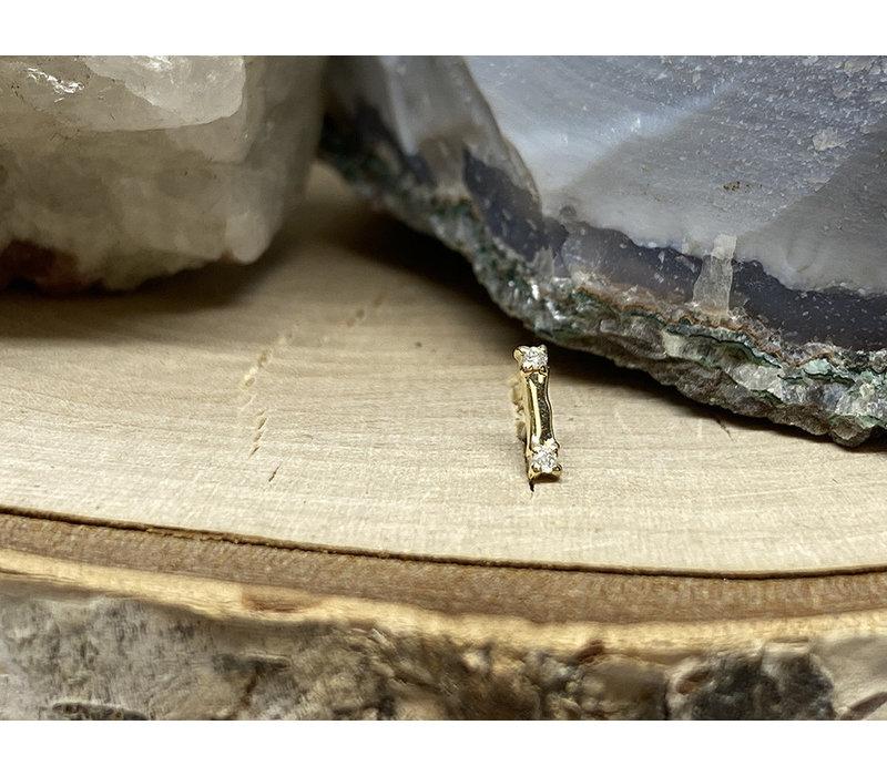 Tawapa Beam 14k Yellow Gold with White Diamond Threadless