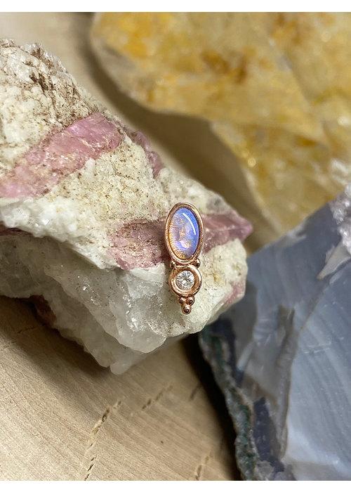 Tawapa Tawapa Wild Solid 14k Rose Gold with Genuine White Opal Threadless