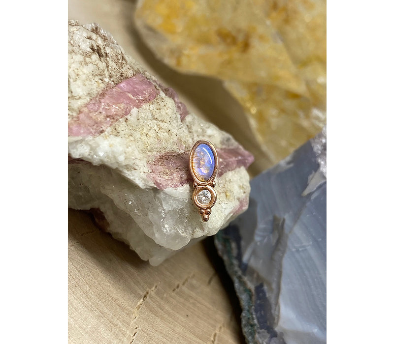 Tawapa Wild Solid 14k Rose Gold with Genuine White Opal Threadless