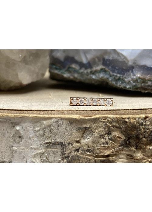 Tawapa Tawapa Rail Pin 14k Rose Gold with White Diamonds Threadless