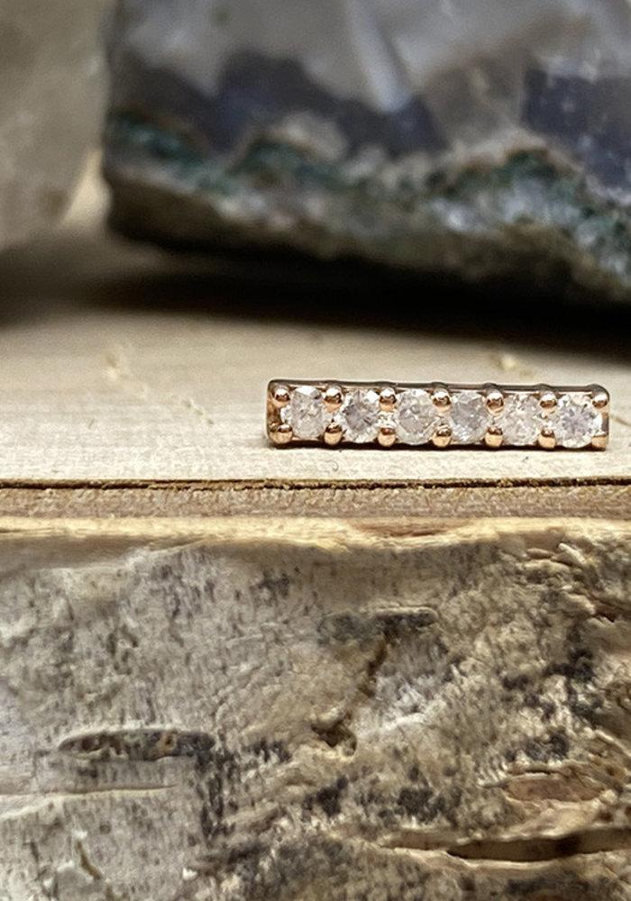 Tawapa Rail Pin 14k Rose Gold with White Diamonds Threadless