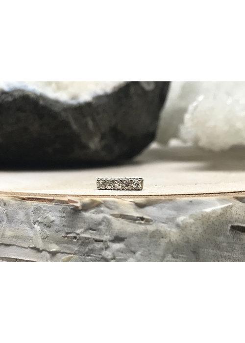 Tawapa Tawapa Rail Pin Solid 14k White Gold with White Diamonds Threadless
