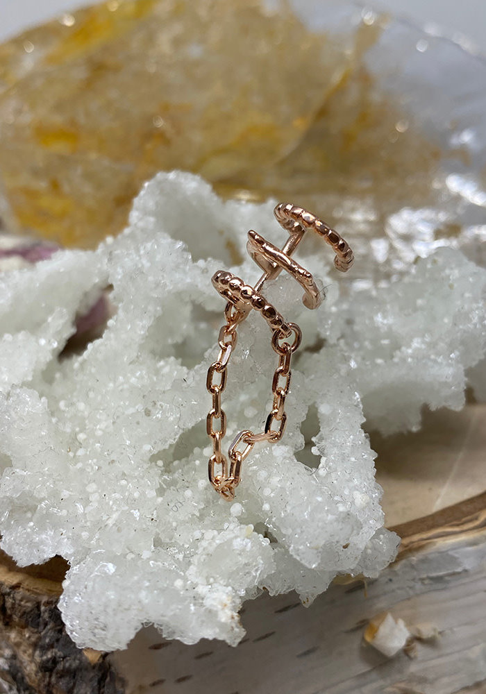 Tawapa Chained Love Ear Cuff Rose Gold Plated