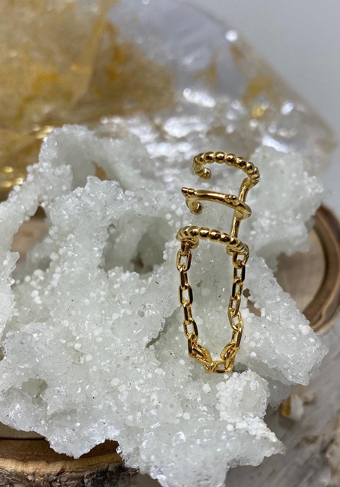 Tawapa Chained Love Ear Cuff Yellow Gold Plated