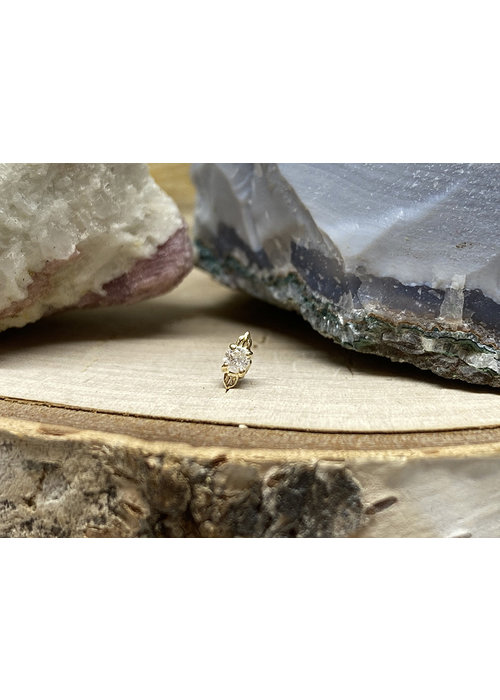 Tawapa Tawapa Dusk Small Solid 14k Yellow Gold with (1) 2mm Round White Diamond Threadless