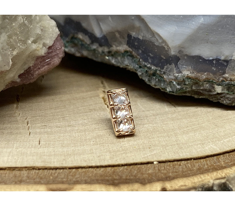 Tawapa Shade Solid 14k Rose Gold with (3) 2mm Square White CZ Threadless End