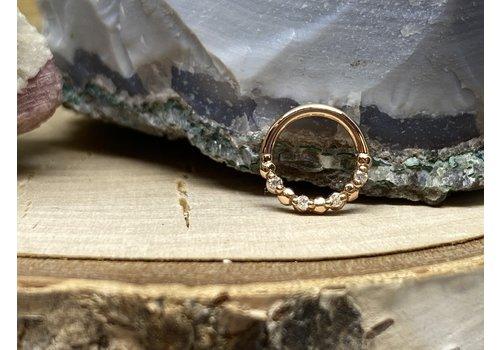"Tawapa Tawapa 14k Rose Gold with x4-1mm White Diamonds 18g 1/4"" Seam Ring"