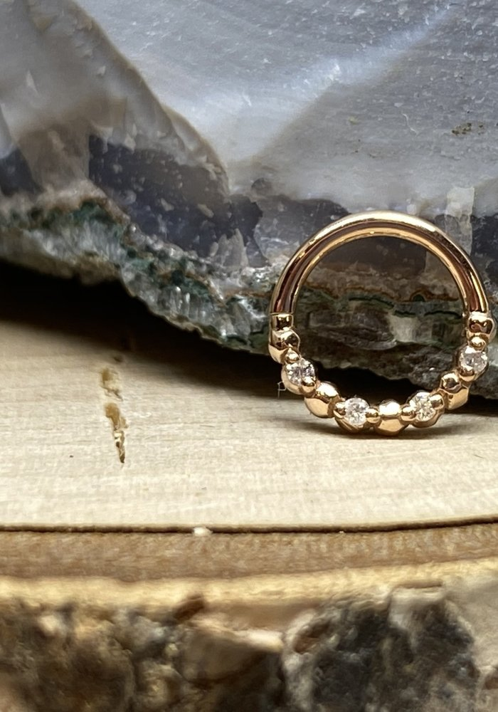 """Tawapa Faceted 14k Rose Gold with x4-1mm White Diamonds 18g 1/4"""" Seam Ring"""