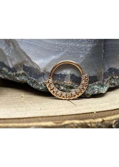 "Tawapa Tawapa Grove Seam Ring Solid 14k Rose Gold with White Diamonds 16g 3/8"""
