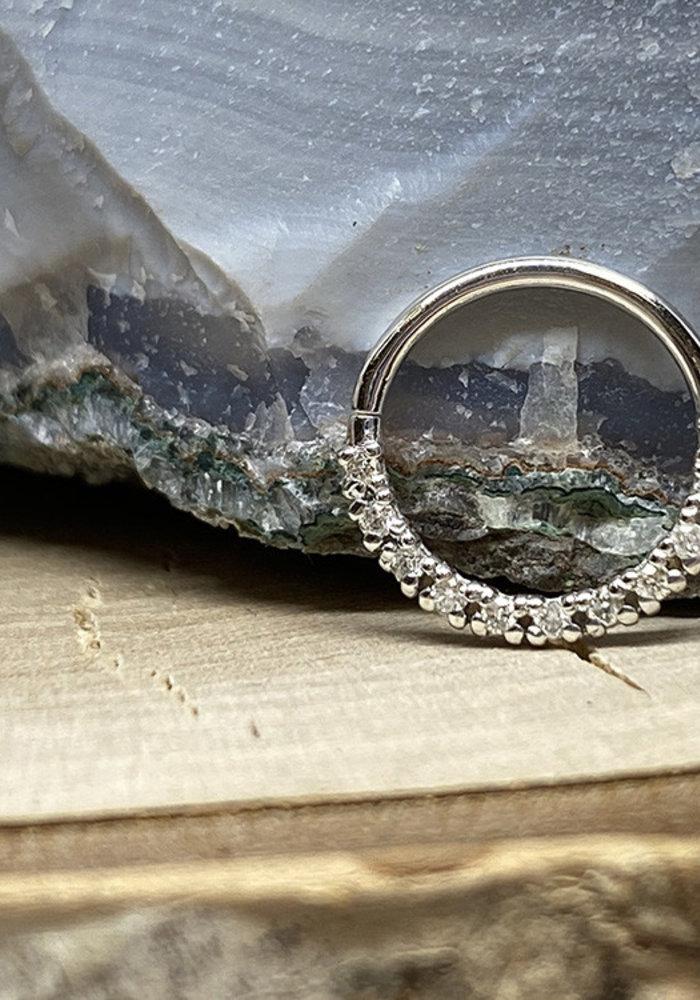 """Tawapa Infinite Solid 14k White Gold with White Diamonds 18g 3/8"""" Seam Ring"""