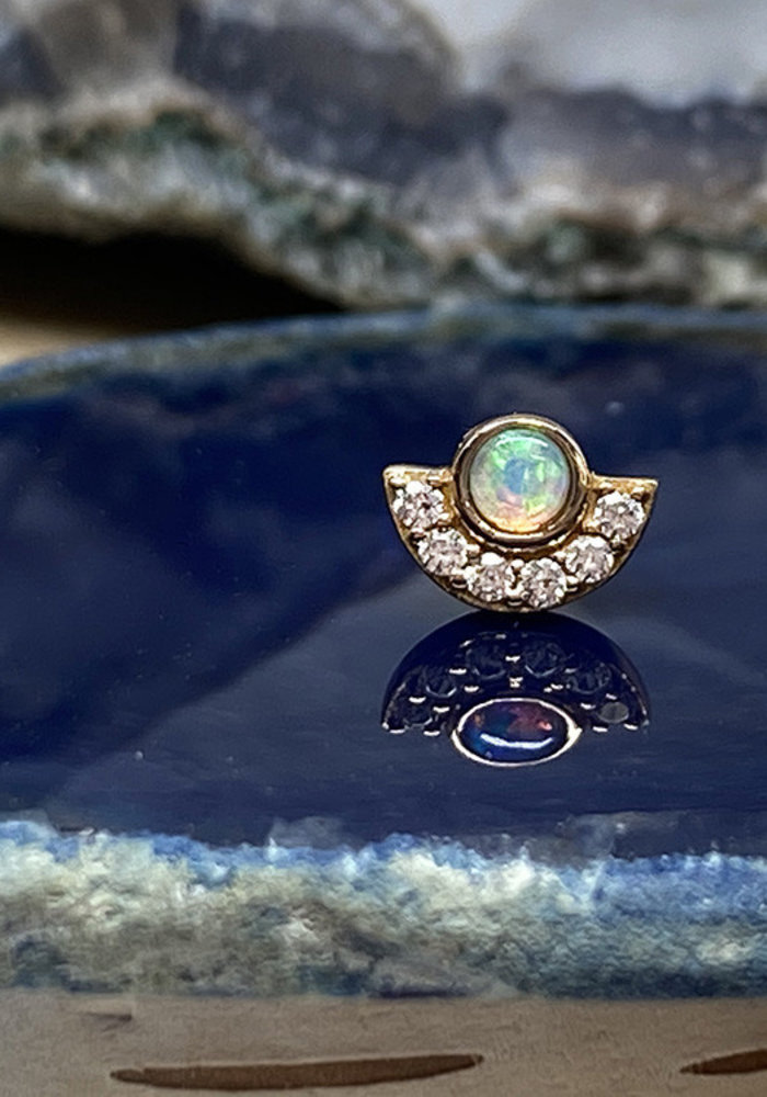 Buddha Jewelry Kahlo Rose Gold with Opal and CZ Small Threadless