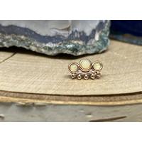 Tawapa Tiara 14k Rose Gold with Genuine White Opal Threadless