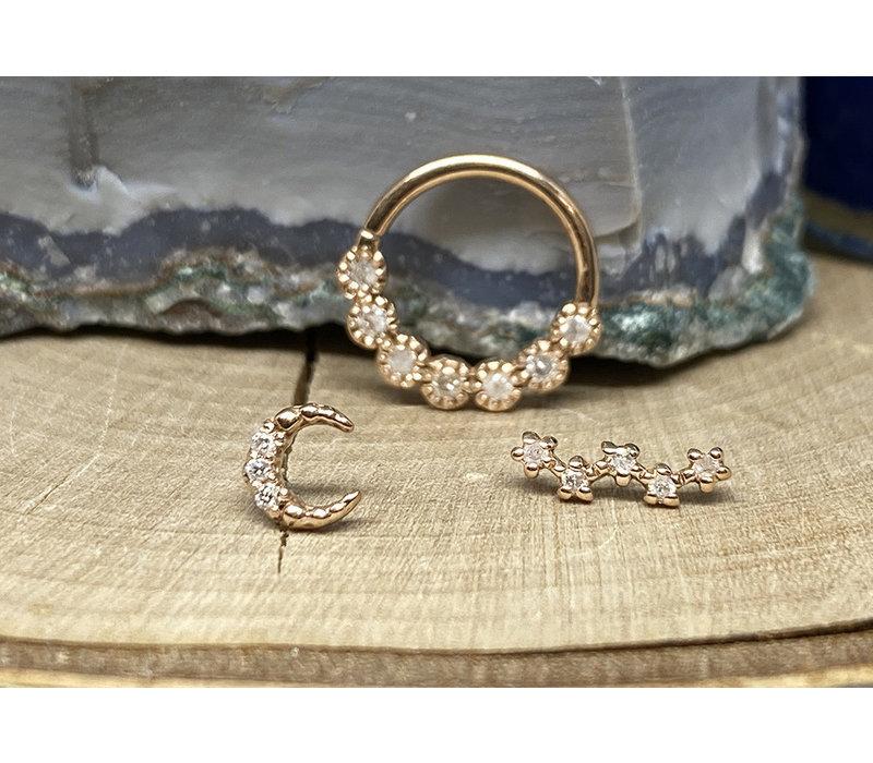 "Tawapa Daisy Chain Solid 14k Rose Gold with White Diamond 16g 5/16"" Seam Ring"