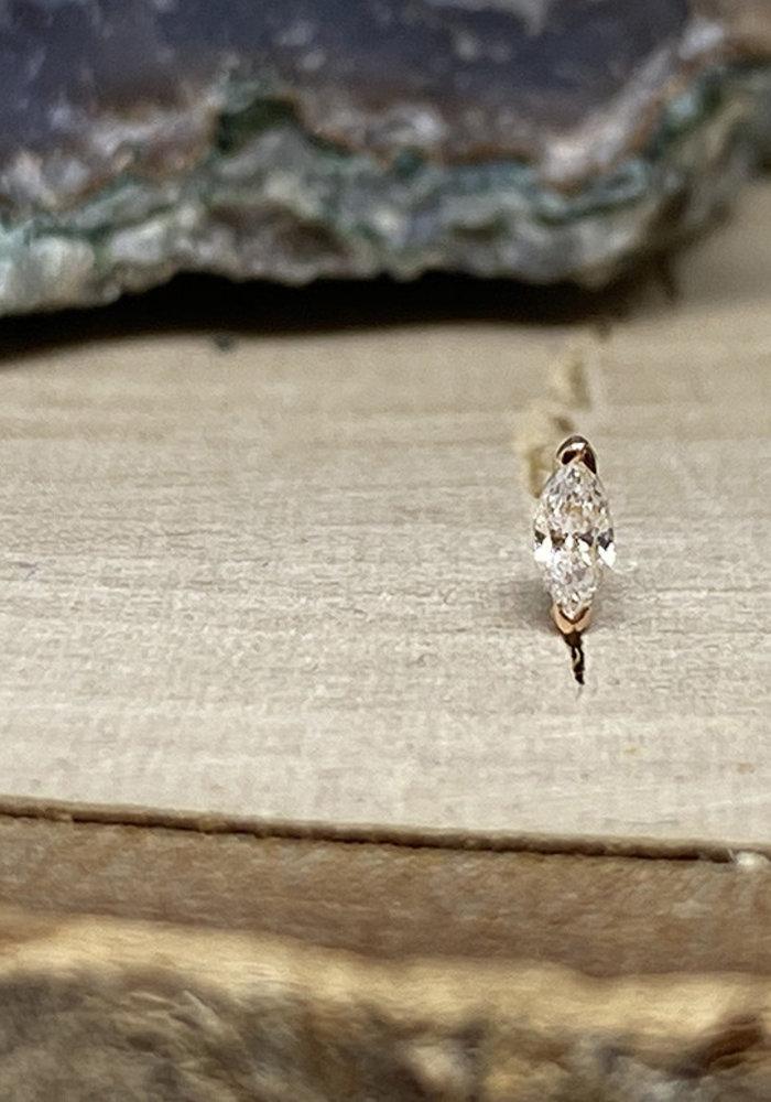 Buddha Jewelry Zuri Rose Gold with White CZ 1.5mmx3mm Threadless