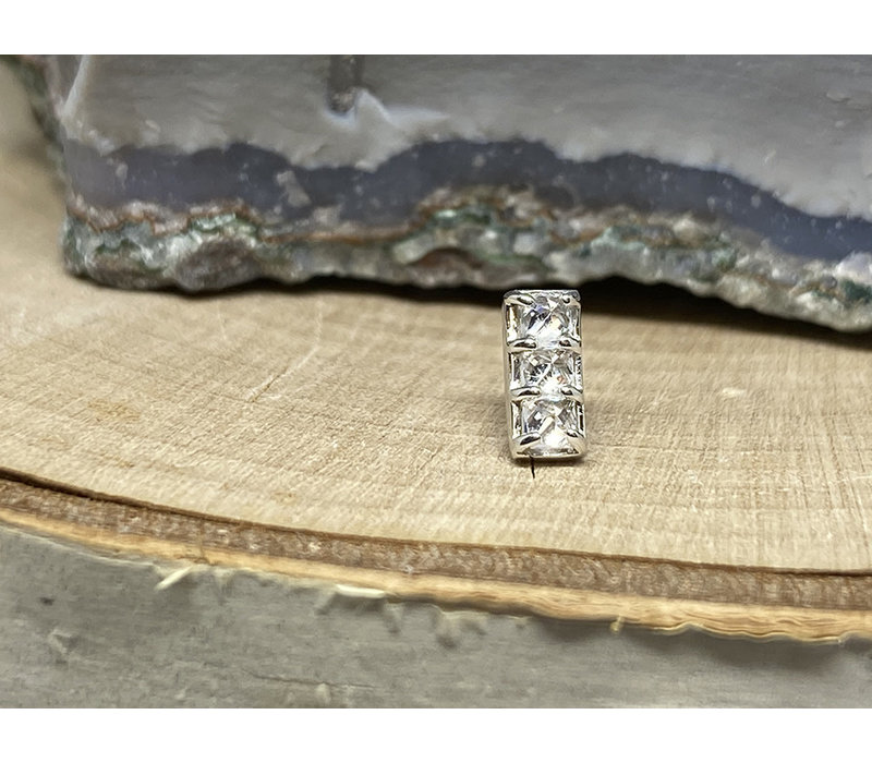 Tawapa Shade Solid 14k White Gold with (3) 2mm Square White CZ Threadless