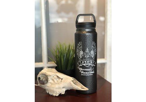 Clearwater Gear Mom's Custom Tattoo Hammer Iron Vintage Logo Water Bottle w/ Travel Mug Lid 32 oz.