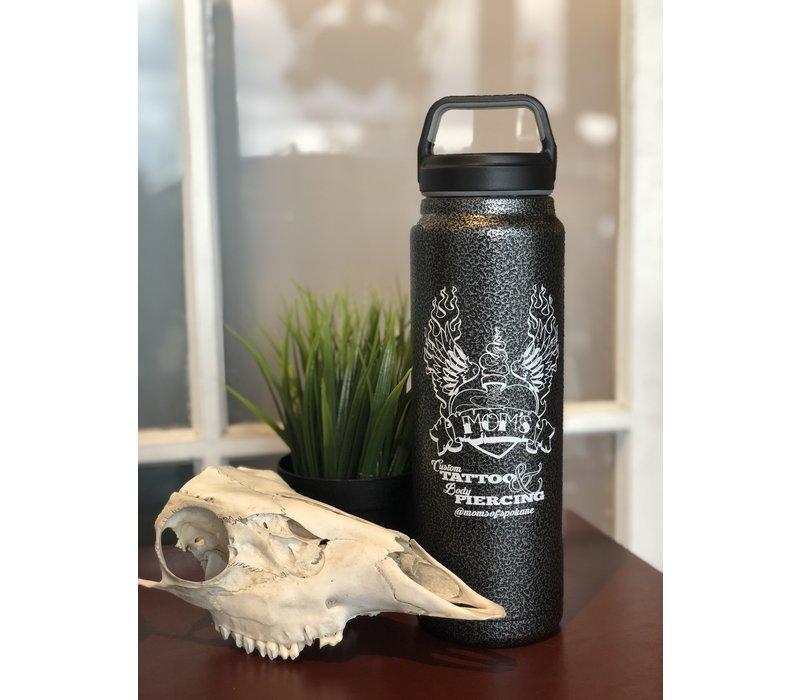 Mom's Custom Tattoo Hammer Iron Vintage Logo Water Bottle w/ Travel Mug Lid 32 oz.