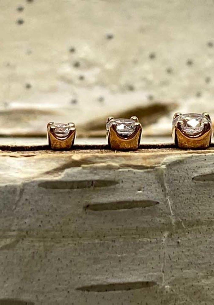 Junipurr Prong CZ Rose Gold 3mm Threadless
