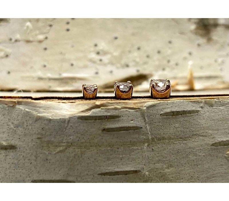 Junipurr Prong CZ Rose Gold 2mm Threadless