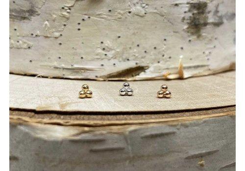 Junipurr Junipurr White Gold Tri Bead Threadless