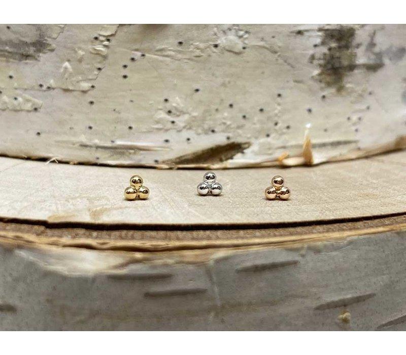 Junipurr White Gold Tri Bead Threadless