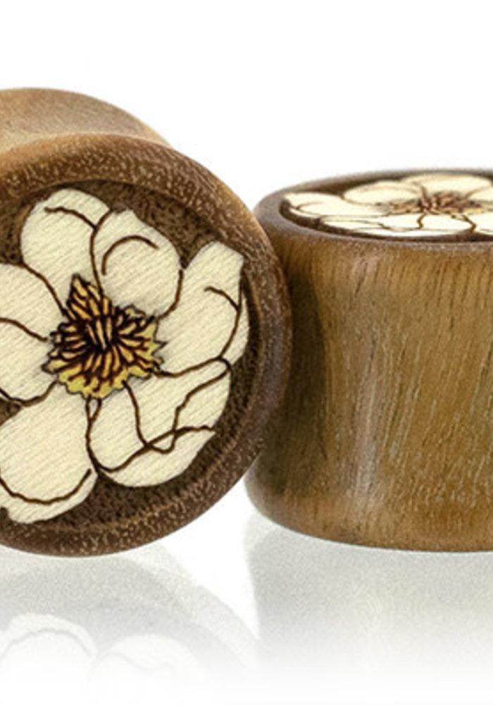 Omerica Magnolia Inlay Double Flare Wood Plugs