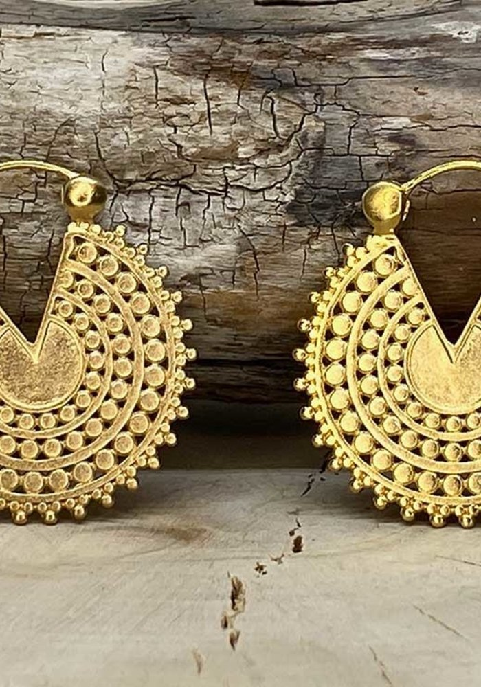 Tawapa Afghan Disc Hoop Yellow Gold Plated Satin 18g