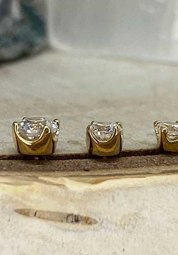 Junipurr Prong CZ Yellow Gold 3mm Threadless