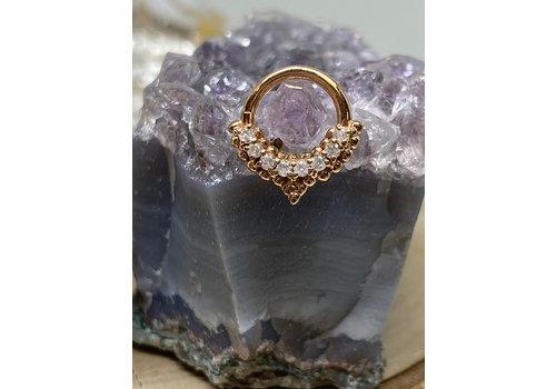 "Tawapa Tawapa Mist Rose Gold with White Diamonds 16g 5/16"" Seam Ring"