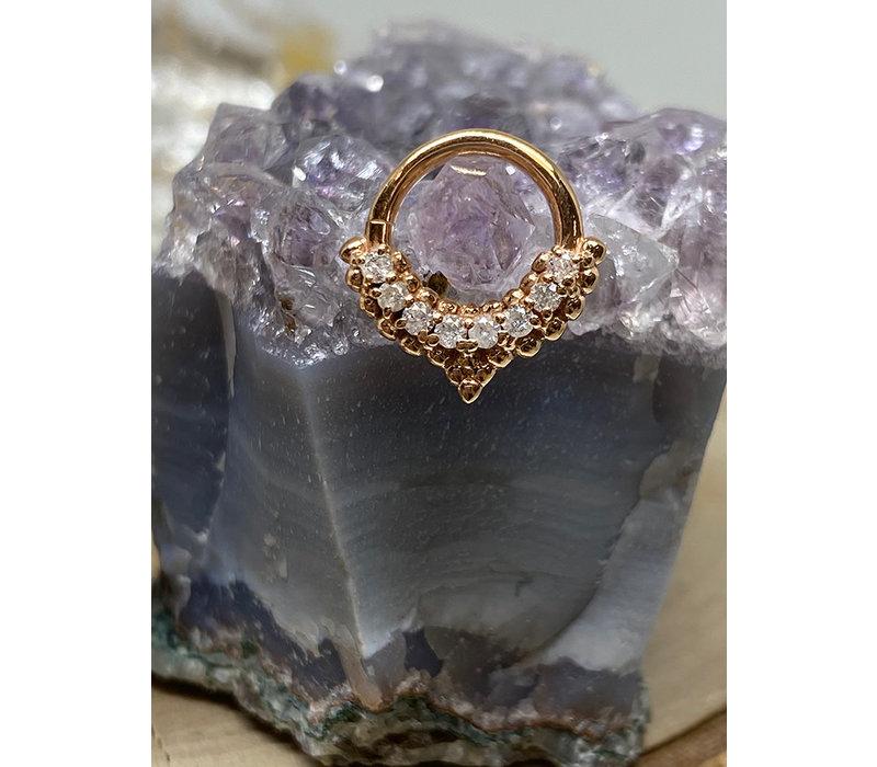 "Tawapa Mist Rose Gold with White Diamonds 16g 5/16"" Seam Ring"