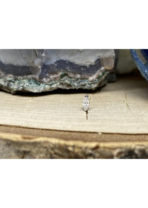 Buddha Jewelry Organics Buddha Jewelry Zuri White Gold with White CZ 1.5mmx3mm Threadless